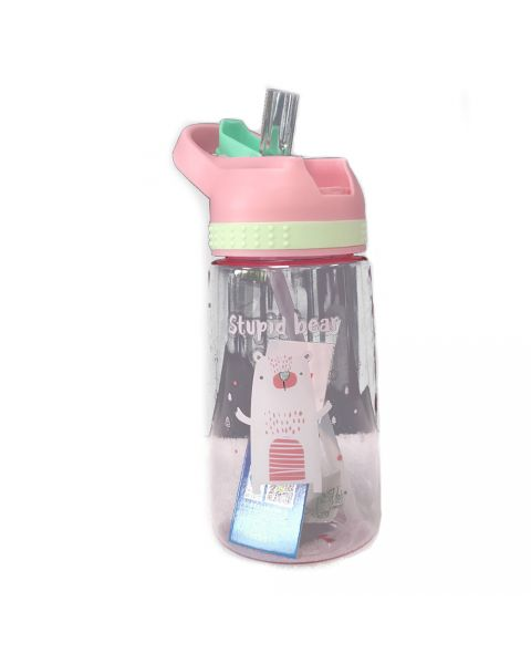 Juice Bottle With Flip Straw - Pink Bear
