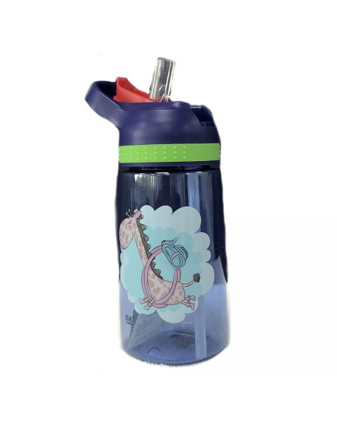 Juice Bottle With Flip Straw - Blue Giraffe