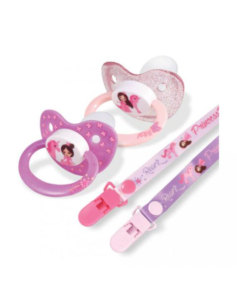 Princess Pink Pacifier and Clip 2 Pack